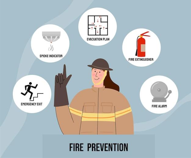 Hand drawn fire prevention concept