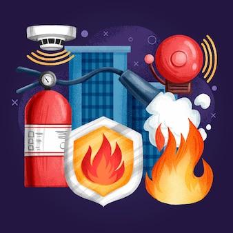 Нарисованная рукой противопожарная защита иллюстрирована