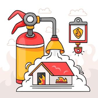 Нарисованная рукой иллюстрация противопожарной защиты