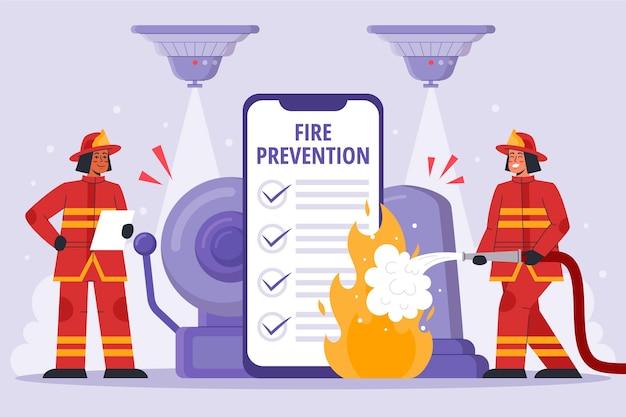 Illustrazione di prevenzione incendi disegnata a mano