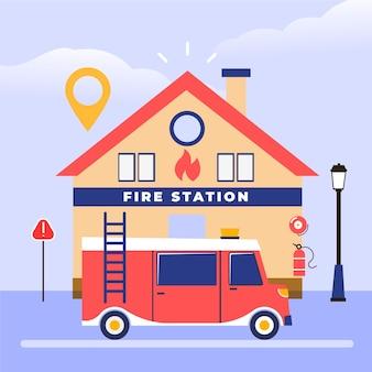 Caserma dei pompieri e camion dei pompieri disegnati a mano