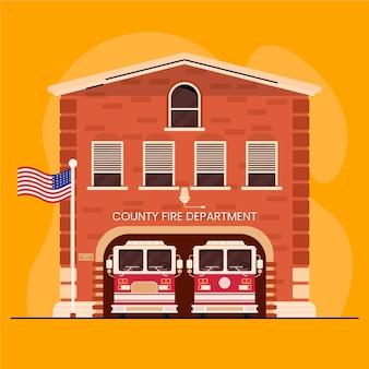 Caserma dei pompieri disegnata a mano illustrata