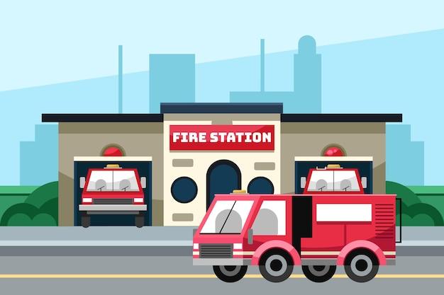 Нарисованная рукой иллюстрация пожарной части