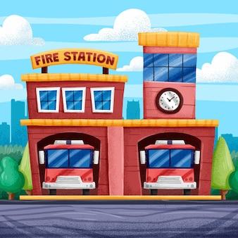 Illustrazione disegnata a mano della caserma dei pompieri
