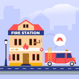 Caserma dei pompieri disegnata a mano