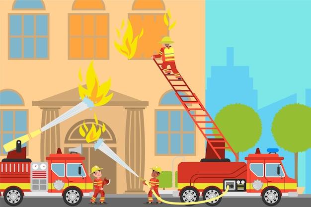 Нарисованные рукой пожарные тушат пожар