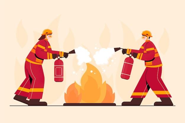 Pompieri disegnati a mano che spengono un incendio