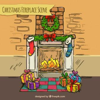 クリスマスの装飾品や贈り物と手描き暖炉の背景