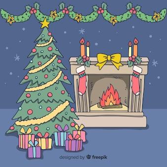 Hand drawn fireplace illustration