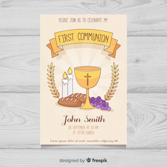 Hand drawn first communion elements invitation