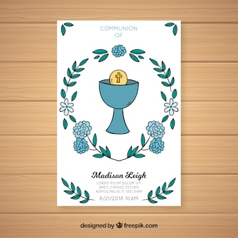 Hand drawn first communion invitation