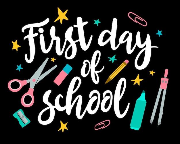 Iscrizione disegnata a mano del primo giorno di scuola