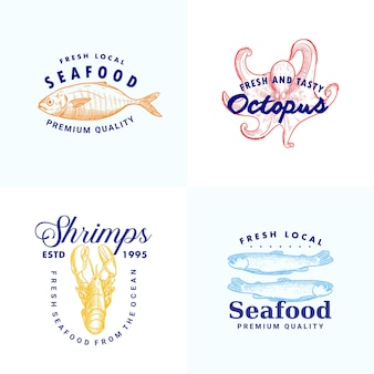 Hand drawn fish anchovy shripms lobster octopus illustration logo template collection for seafood brand