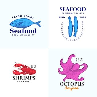 Hand drawn fish anchovy shripms octopus lobster illustration logo template collection for seafood brand