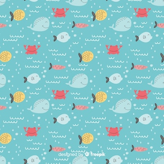 Hand drawn fish doodle pattern