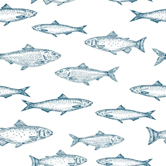 Hand drawn fish  seamless background pattern.