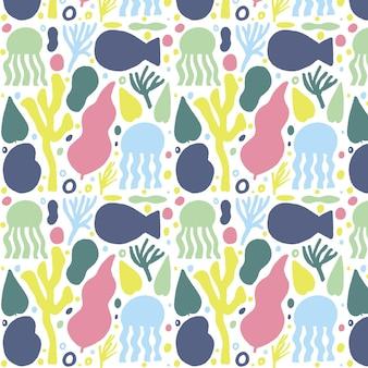 手描きの魚の形のパターン