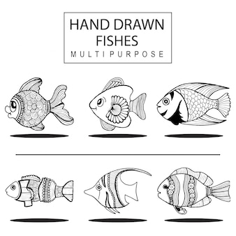 Hand drawn fishs multipurpose