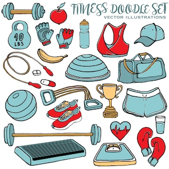 Hand drawn fitness doodle set, sport equipment and clothes