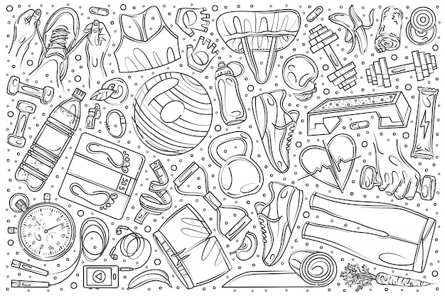 Hand drawn fitness training set doodle