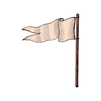Рука обращается флаг, изолированных на белом фоне