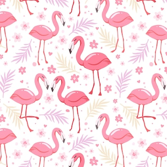 Hand drawn flamingo pattern with leaves