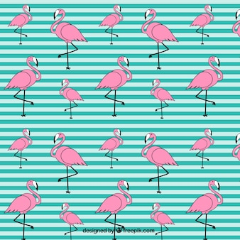 Hand drawn flamingo pattern with stripes