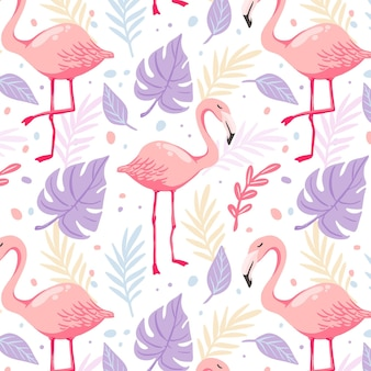 Hand drawn flamingo pattern with tropical leaves