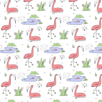Hand drawn flamingo pattern