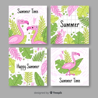 Hand drawn flamingos and leaves summer label collection