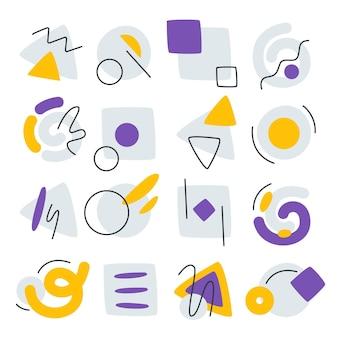 Collezione di forme astratte piatte disegnate a mano