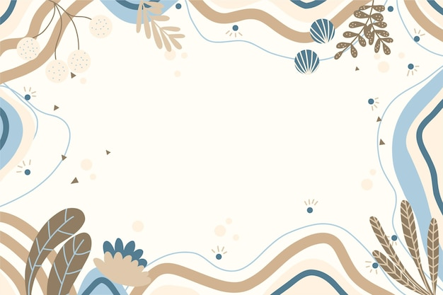 Hand drawn flat abstract shapes background