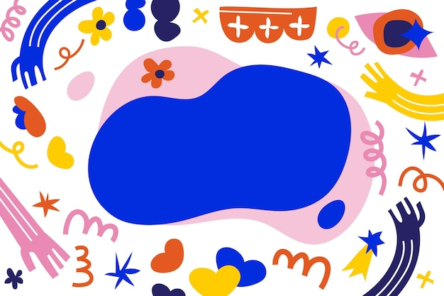 Hand drawn flat abstract shapes background Free Vector