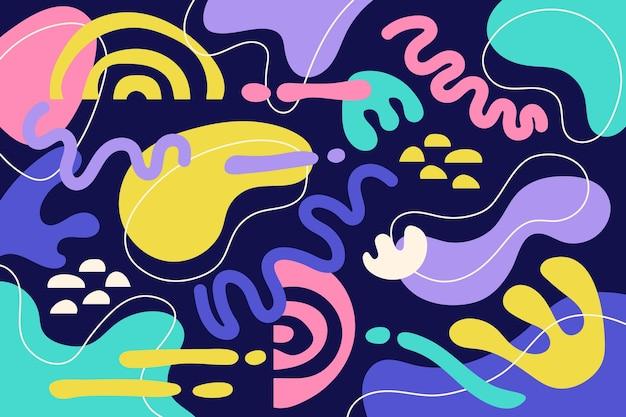 Ручной обращается плоские абстрактные формы фон