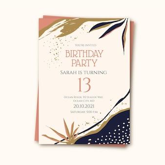 Hand drawn flat abstract shapes birthday invitation template