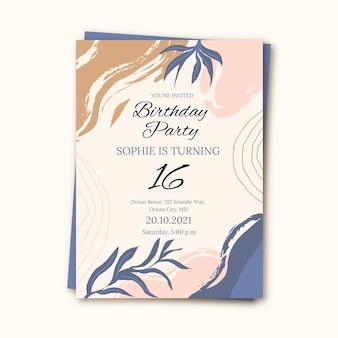 Ручной обращается плоские абстрактные формы шаблон приглашения на день рождения
