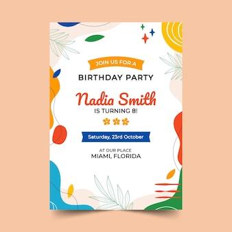 Ручной обращается плоские абстрактные формы приглашение на день рождения