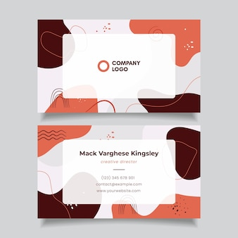 Hand drawn flat abstract shapes business card template