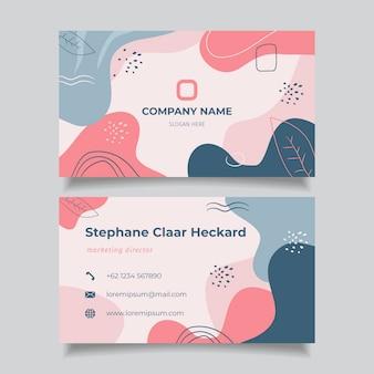 Нарисованный рукой шаблон визитной карточки плоской абстрактной формы
