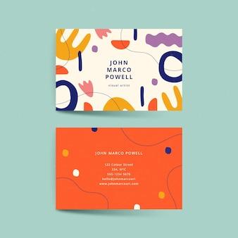 Ручной обращается плоские абстрактные формы шаблон визитной карточки