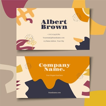 Hand drawn flat abstract shapes business cards