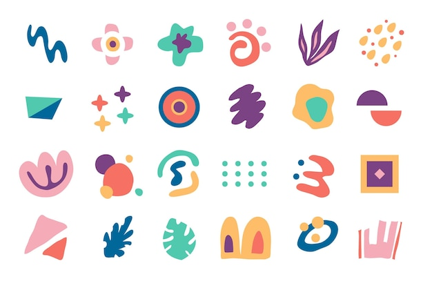 Hand drawn flat abstract shapes collection