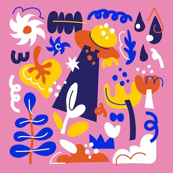 Коллекция рисованной плоских абстрактных фигур