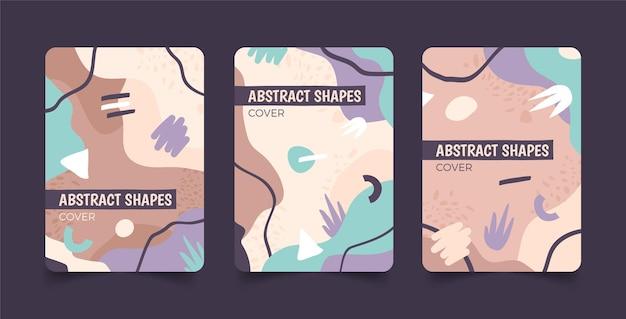 Collezione di copertine di forme astratte piatte disegnate a mano