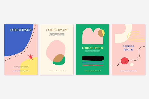 Hand drawn flat abstract shapes covers collection