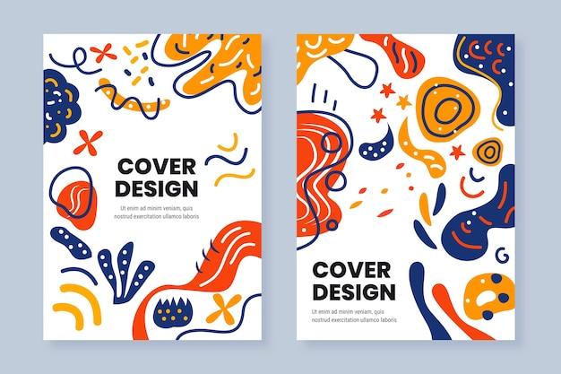 Confezione di copertine di forme astratte piatte disegnate a mano