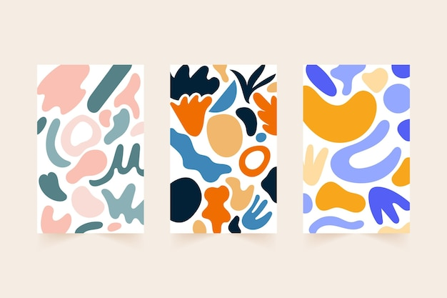 Hand drawn flat abstract shapes covers