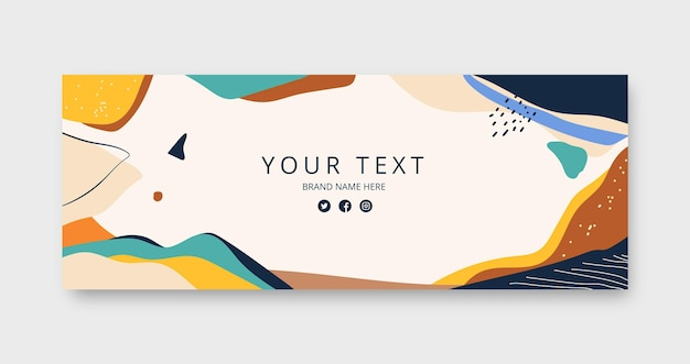 Hand drawn flat abstract shapes facebook cover