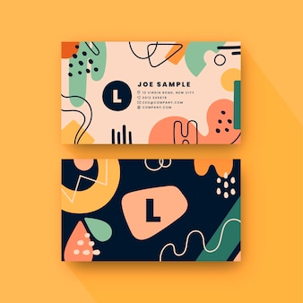 Hand drawn flat abstract shapes horizontal business card template