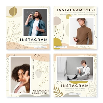 Hand drawn flat abstract shapes instagram posts collection with photo
